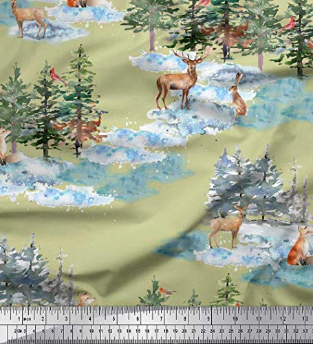 Soimoi Beige Rayon Fabric Animals & Pine Tree Print Fabric by The Yard 42 Inch Wide ()