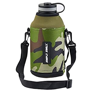 Simply Simily Camo Bottle Zipper with Straps for Hydro Flask 64 oz Wide Mouth Water Bottle/Beer Growler