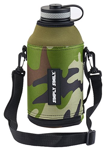 Simply Simily Camo Bottle Zipper with Straps for Hydro Flask 64 oz Wide Mouth Water Bottle/Beer Growler ()