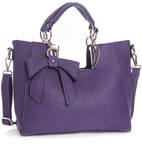 Big Handbag Shop Womens Plain Golden Deco Bow Detail Top Handle Shoulder Bag - Medium Size Medium Purple