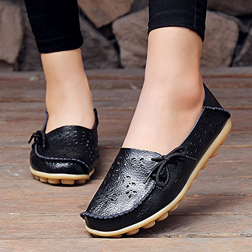 Black Flat Sizes Driving Leather Slip Loafers Women's Soft ONS Slippers Moccasin Shoes Big Casual AIRIKE xqT6BRI