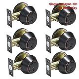 6 Pack Probrico Interior Bedroom Single Cylinder Deadbolt One Keyway Keyed Alike Same Key Safety Bolt Door Lock Lockset in Oil Rubbed Bronze-Single Deadbolt-101