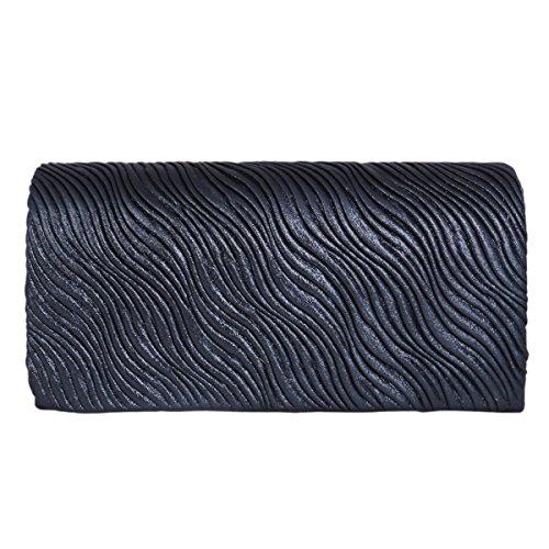 Main Bleu Sac à Sac Mode Femme à Soirée Noir Satin Pochette Adoptfade la Clutch Long de xRTqwS