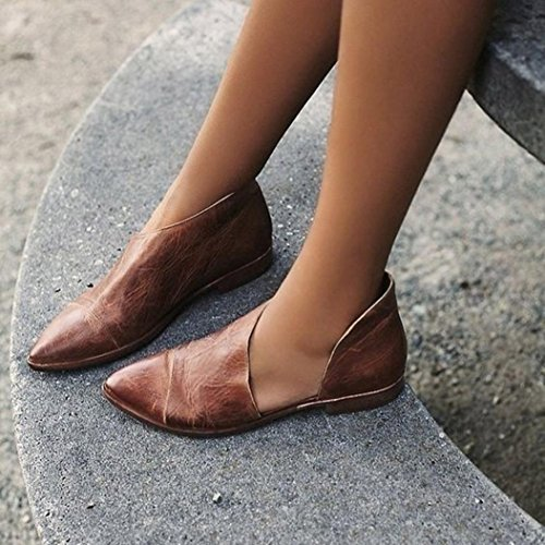 Hunpta Pour Dames Printemps Nude Marron Mode Casual De Pointues Chaussures Plates RRrHdxqw
