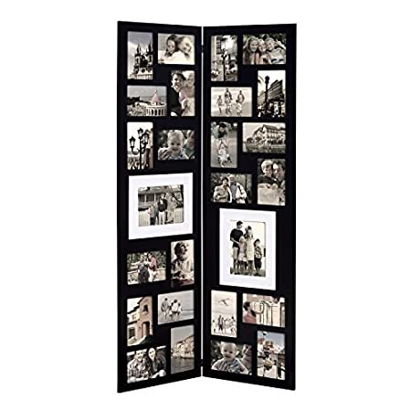 Adeco Decorative Black Wood Folding Floor Standing Collage Picture