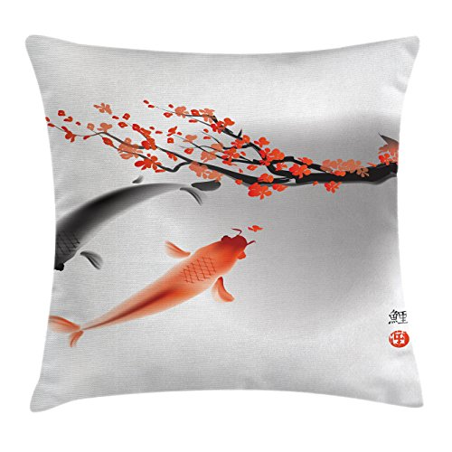 Ambesonne Japanese Throw Pillow Cushion Cover, Koi Carp Fish Couple Swimming with Cherry Blossom Sakura Branch Culture Design, Decorative Square Accent Pillow Case, 16 X 16 Inches, Orange -