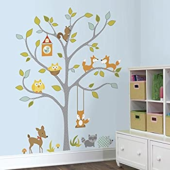 RoomMates Woodland Fox And Friends Tree Peel And Stick Wall Decals Part 13