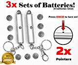 Animmo 2x Cat Light Pointers Batteries Included for Both Plus Individually Tested for Proper Function, Stays On (with...