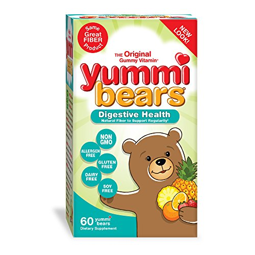Yummi Bears Digestive Health Natural Fiber Supplement Gummy Vitamins for Kids, 60 Gummies
