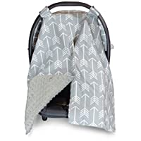 Premium Carseat Canopy Cover and Nursing Cover- Large Arrow Pattern w/ Grey M...