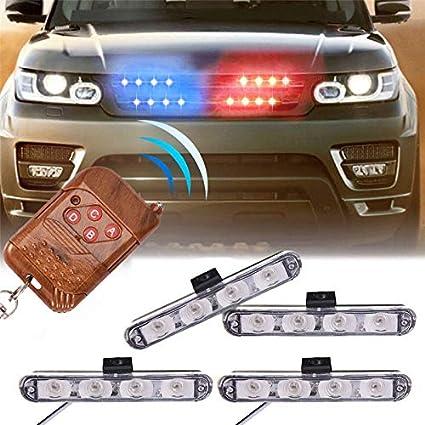 Amazon com: XT AUTO Car 16 LED Red & Blue Police Strobe Flash Light