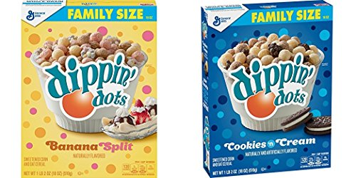 - General Mills New Dippin' Dots Cereal! Cookies N Cream And Banana Split Set! Each Box Is An 18 Oz Family Size! Your Favorite Frozen Treat Is Now A Cereal! Tastes Just Like Ice Cream!