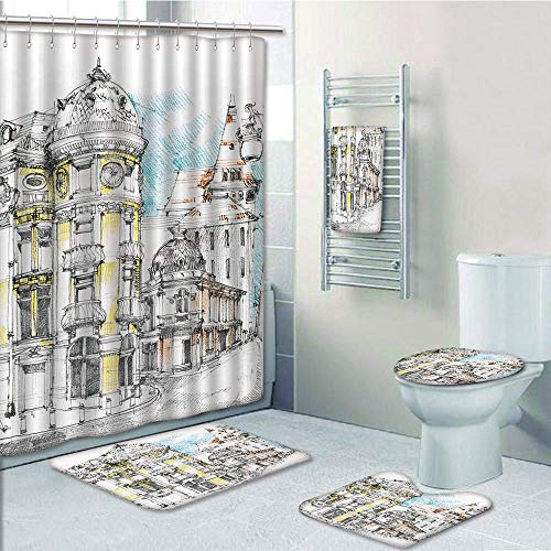 (Bathroom 5 Piece Set Shower Curtain 3D Print,Medieval Decor,Pale Sketch Design of Middle Age Renaissance Building in European Old Town Cityscape,Multi,Bath Mat,Bathroom Carpet Rug,Non-Slip,Bath Towls)