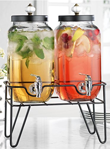 ClassicTwo (2) 1 Gallon Each Clear Glass Jug Beverage Dispensers with Knob on Metal Display (Glass Tea Jug With Spigot)