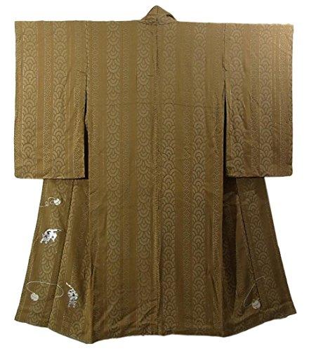 アンティーク 着物 散歩着 縞青海波に猫と鈴 刺繍 裄63cm 身丈144cm 正絹 袷