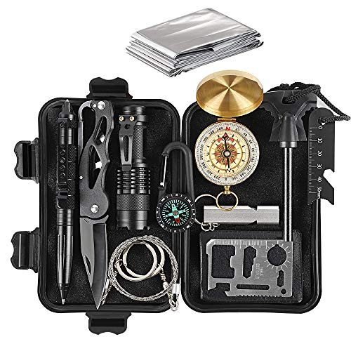 HAITRAL Survival Gear Kits, 12-in-1 Outdoor Emergency Survival Gear with Emergency Blanket, Fire Starter, Flashlights for Camping, Hiking ()