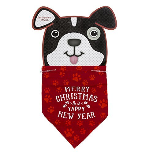 Grasslands Road Paw Print Bandana Merry Christmas and Happy New Year (Fancy Dress Costumes Australia Cheap)