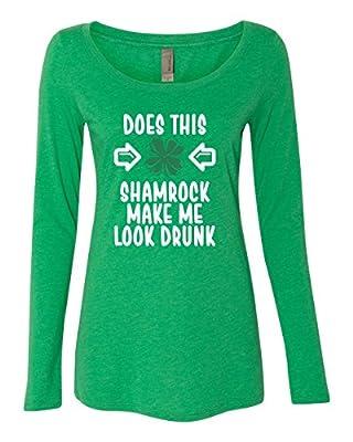 Panoware Women's ST Patricks Day Long Sleeve T-Shirt   Does This Shamrock Make Me Look Drunk