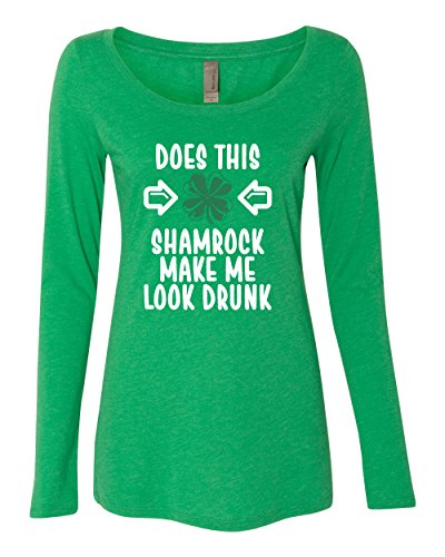 Panoware Women's ST Patricks Day Long Sleeve T-Shirt | Does This Shamrock Make Me Look Drunk, Envy, XX-Large
