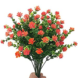ZiMeng Artificial Flowers, Fake Outdoor UV Resistant Plants Faux Plastic Greenery Shrubs Indoor Outside Hanging Planter Home Garden Decorating 48