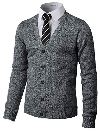 H2H Mens Soft V-Neck Button Down with Twisted Patterned Cardigans Navy US L/Asia XL (CMOCAL027)