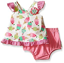Nannette Little Girls Knit Ice Cream Top and Diaper Cover Set, Pink, 6-9 Months