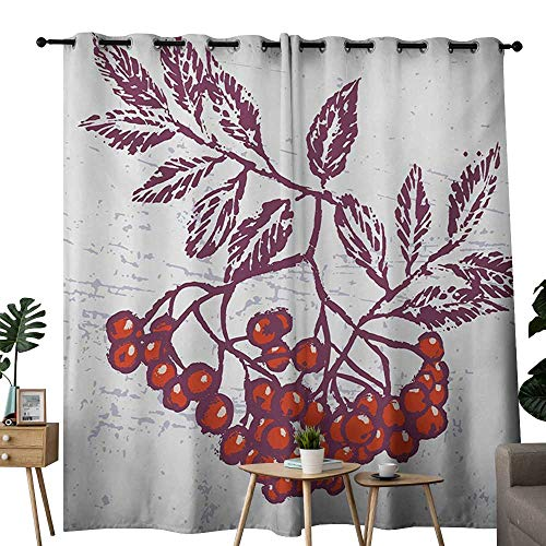 NUOMANAN Decor Curtains by Rowan,Artistic Berry Bunch Hand Drawn Seasonal Fruit Natural Organic Food Theme,Purple Orange White,Wide Blackout Curtains, Keep Warm Draperies, Set of 2 120