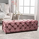 Christopher Knight Home 300770 Living Provence Blush New Velvet Rectangular Ottoman
