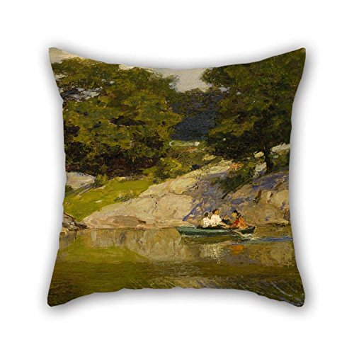 The Oil Painting Edward Henry Potthast - Boating In Central Park Cushion Cases Of 16 X 16 Inches / 40 By 40 Cm Decoration Gift For Her Teens Boys Festival -
