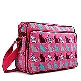 Miss Lulu Matte Finish Oilcloth Satchel Messenger Bag (Cat Pink)