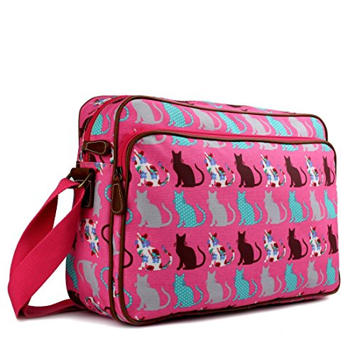 Miss Lulu Matte Finish Oilcloth Satchel Messenger Bag (Cat Pink)