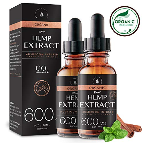 (2-Pack) Organic Raw Hemp Oil Extract - 600MG - Cinnamint Flavor - Enhanced Efficacy, Made in USA - Rich in Omega 3-6-9 Fatty Acids, Kosher, Non-GMO. White Cedar Natural (Natural White)