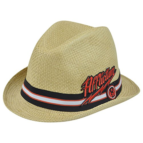 [Affliction Paper Straw Diamond Top Brand Small Medium Hat Pimp Trilby Gangster] (Pimp Hat With Feather)