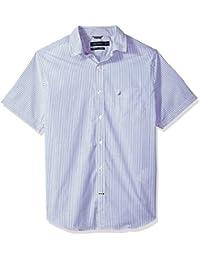 Men's Wrinkle Resistant Short Slv Print Pattern Button Down Shirt