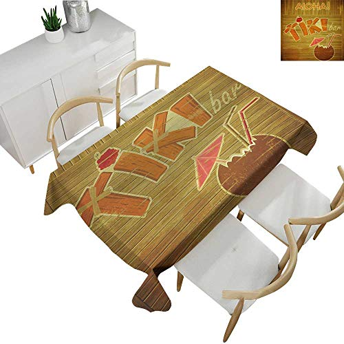 (Tiki Bar,Table Covers Wooden Planks on Wall with Styled Tiki Bar Text Cocktail Hibiscus Aloha Table Cover for Outdoor and Indoor Brown Orange Pink 50