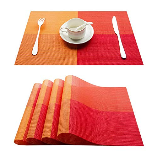 (Top Finel Placemats for Dining Table,PVC Table Mats Set of 4,Place Mats Non-Slip Heat Resistant Washable,Orange )