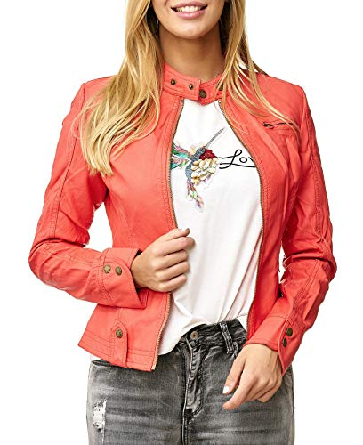 Noname Donna Giacca In Pelle Corta Biker Transition Jacket Sintetica D2515 Salmone
