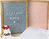 Premium Reversible Felt Letter Board Gray & Pink with 650 Changeable Letters, Numbers, Symbols & Emojis - 11x14 inches Oak Frame with Wood Block Stand. FREE BONUS: letters Organizer Case + Storage Bag