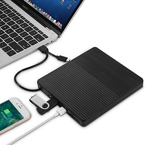 DVDドライブ 超薄型USB 3.0外付け光学式ドライブUSB-CバーナーノートブックDVD-RW DVD/CDのMacBook LaptopType-C CDドライバ CDドライブ (Color : Black, Size : One size)