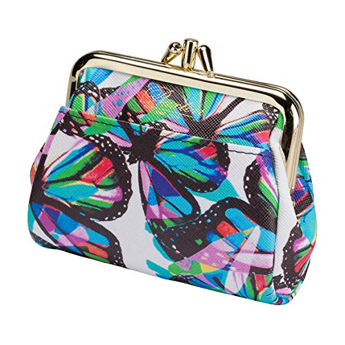 Buxton Womens Leather Triple Frame Coin Purse Credit Card Holder Wallet (Butterfly) ()