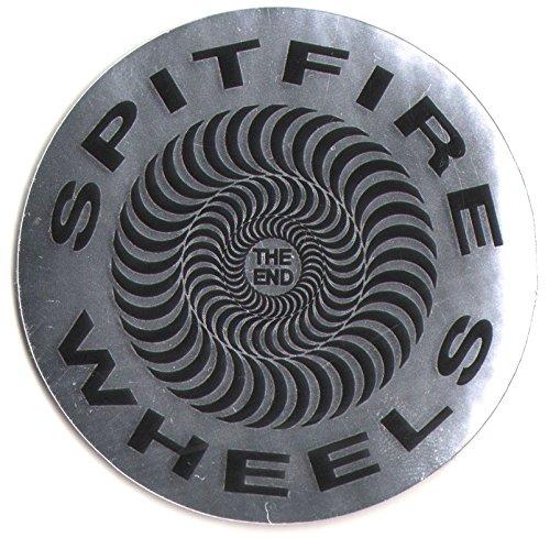(Spitfire Wheels - Classic Foil Silver Swirl Skateboard Sticker - 6.5cm wide approx. skate snow surf board bmx guitar)