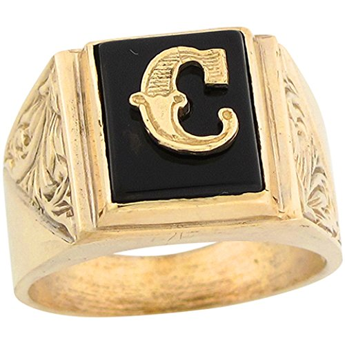 (14k Real Gold 12x10mm Rectangle Onyx Letter C Fancy Mens Initial Ring)