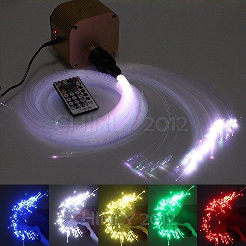CHINLY 16W RGBW Twinkle 28key RF Remote LED Fiber Optic Star Ceiling Lights Kit 450pcs 0.75mm 9.8ft Optical Fiber+Crystal