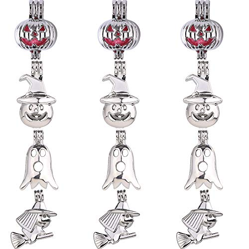 (12pcs Mixed Halloween Skull Ghost Witch Pumpkin Rhodium Plated Hollow Pendants Pearl Bead Cage Pendant Essential Oil Scent Diffuser Pendant Necklace Jewelry Making Supplies (Style13))