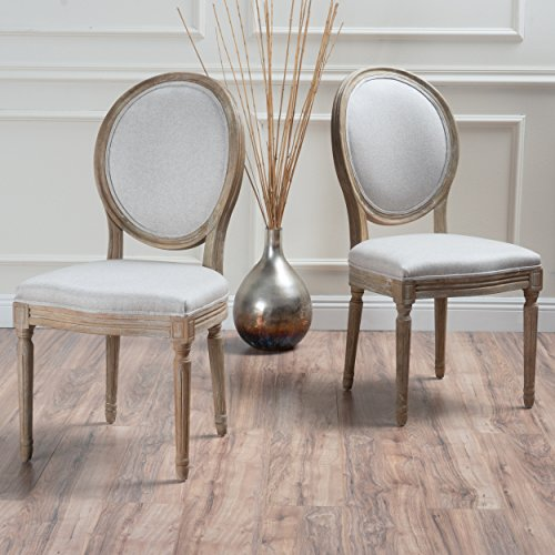 Christopher Knight Home 300258 Phinnaeus Beige Fabric Dining Chair (Set of 2), ()