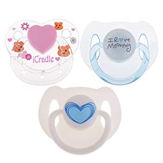 Baoblaze 3 Pieces ABS Plastic Dummy Pacifier Reborn Magnetic Pacifier Toy Baby Doll Supplies Kids Birthday Gift Pink & Blue & Milk White