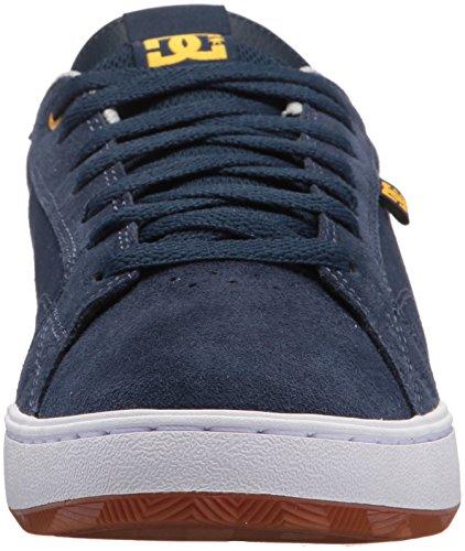 DC Men's Astor Skate Shoe, Black Black Black, D(M) US Navy/Yellow