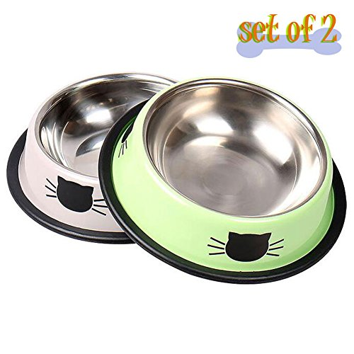 Vonsely Stainless Steel Cat Bowls with Rubber Base, Durable Raised Bowls for Small Pets, Cat Pattern Food and Water Dish, Green/Grey