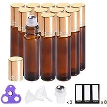 Essential Oil Roller Bottles 10ml ( Amber, Glass, 12pack, 3 Extra Roller Balls,24 Pieces Labels, Opener, 2 Funnels by PrettyCare ) Roller Balls For Essential Oils, Roll on Bottles