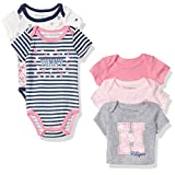 Tommy Hilfiger Baby Girls' Print and Solid Bodysuits, Pink/Gray, 6-9 Months (Pack of 5)